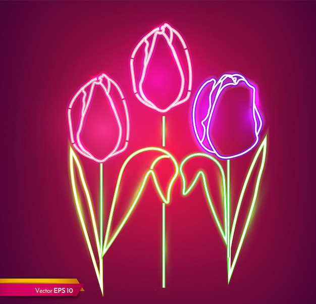 Tulip flowers neon light