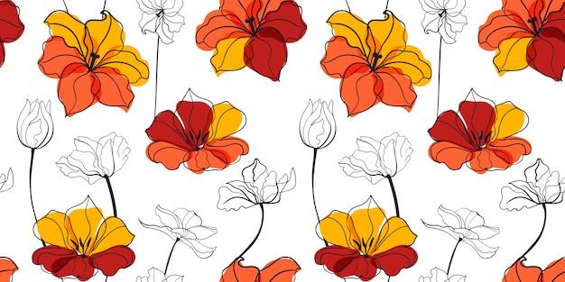 Tulip flowers seamless pattern in the scandinavian style