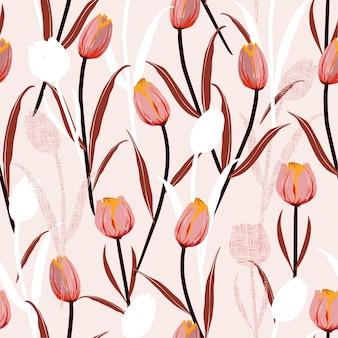 チューリップの花のシルエットと手ラインのシームレスパターン