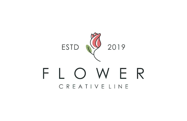 Tulip logo, vector illustration with outline style