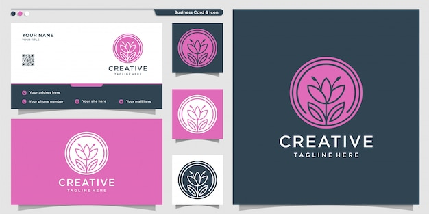 Tulip logo with silhouette and business card design template.