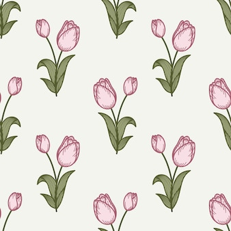 Tulip seamless pattern in a hand drawing style.
