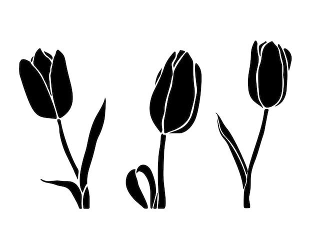 白い背景で隔離の黒い色のチューリップのシルエット。ロゴ、グラフィックデザイン、プリントのシルエットチューリップのセットです。手描きのシンプルなスタイルで花の形のコレクション。ベクトルイラスト。