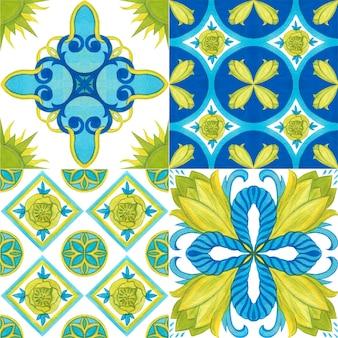 Tulip tile, seamless pattern. watercolor illustration. mediterranean style.