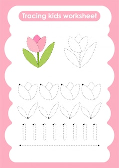 Tulip - trace lines writting and drawing practice worksheet for kids