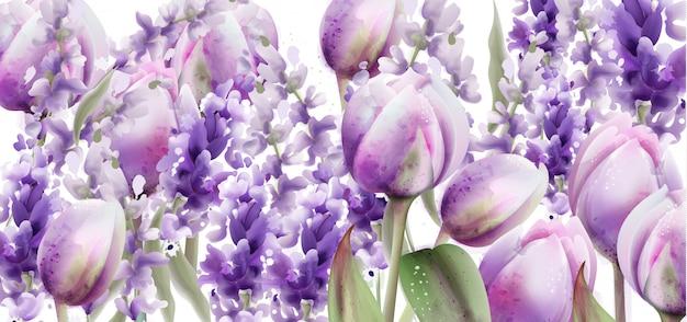 チューリップとラベンダーの水彩画。春夏の花の花束