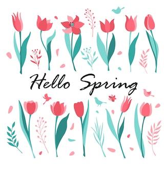 Tulips flat illustration set. hello spring