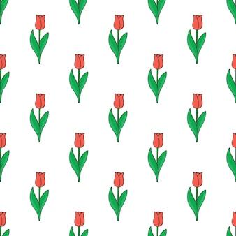 흰색 배경에 튤립 원활한 패턴입니다. 꽃 테마 벡터 일러스트 레이 션