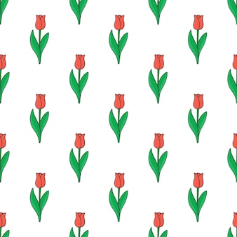 Tulips seamless pattern on a white background. flowers theme vector illustration