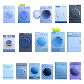 Tumble dryer icons set, cartoon style