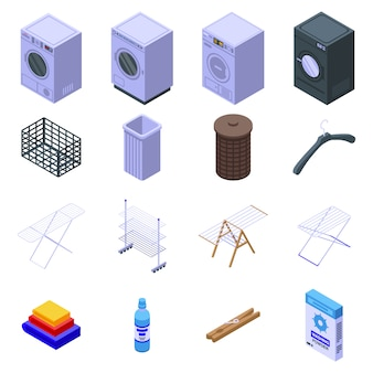 Tumble dryer icons set, isometric style