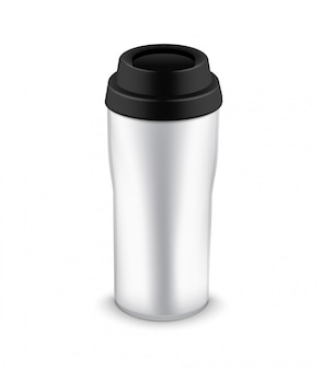 Tumbler bottle mug for travel. thermo water cup plastic or metal coffee mug template design