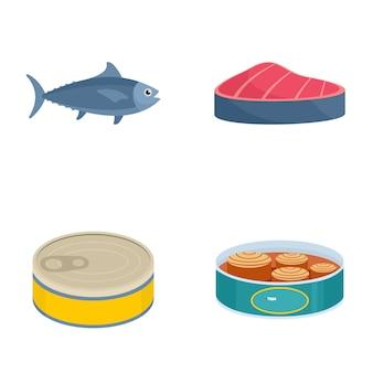 Tuna fish can steak icons set