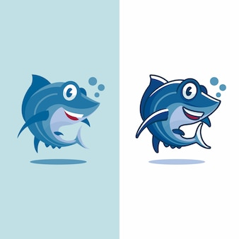 Tuna fish cartoon in two different type of design flat and not flat