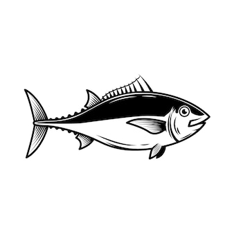 Tuna fish illustration on white background.  element for logo, label, emblem, sign, badge.  image