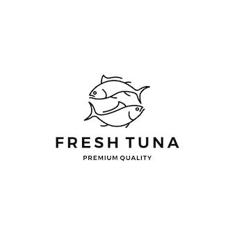 Tuna fish logo emblem label seafood vector icon