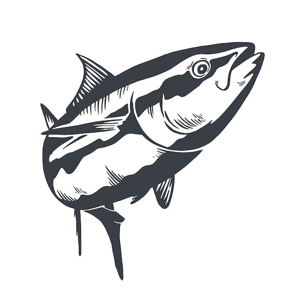 Tuna fish symbol on white background.