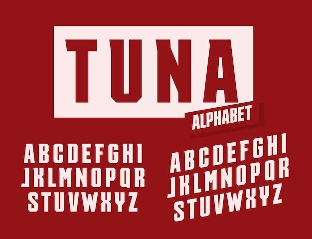참치 문자 세트입니다. 트렌디한 각진 세리프 스타일의 벡터 라틴 알파벳으로 늘이고 키가 커졌습니다. 이벤트, 프로모션, 로고, 배너, 모노그램 및 포스터용 글꼴. 타이포그래피 디자인