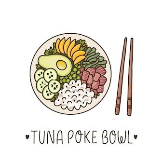Tuna poke bowl  hawaiian dish rice with ahi tuna avocado mango cucumber and seaweed