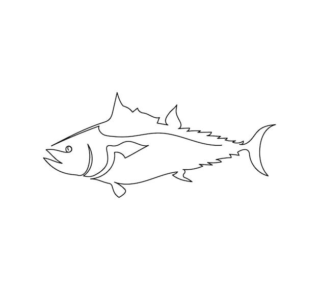 Tuna thunnini sailfish line drawing one line art of predatory fish seafood marine animals