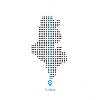 Tunisia doted map desgin vector