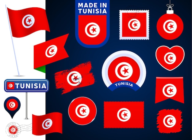튀니지 플래그 벡터 컬렉션입니다. 평평한 스타일의 공휴일과 공휴일을 위한 다양한 모양의 국기 디자인 요소의 큰 집합입니다. 소인, 만든, 사랑, 원, 도로 표지판, 파