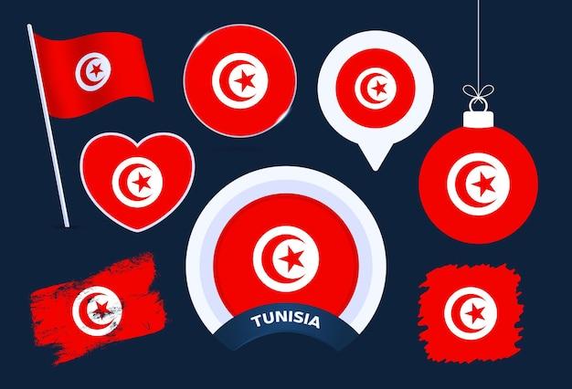 튀니지 플래그 벡터 컬렉션입니다. 평평한 스타일의 공휴일과 공휴일을 위한 다양한 모양의 국기 디자인 요소의 큰 집합입니다.