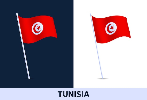 Tunisia   flag. waving national flag of italy isolated on white and dark background. official colors and proportion of flag.   illustration.