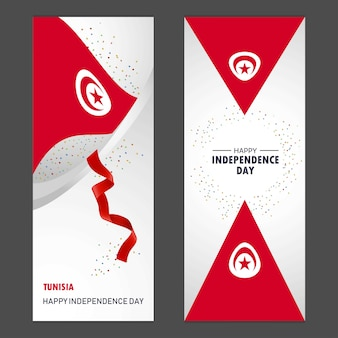 Tunisia happy independence day confetti celebration background vertical banner set