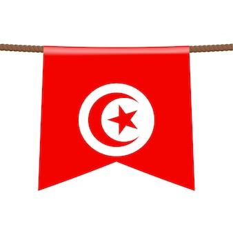 밧줄에 튀니지 국기가 걸려 있습니다. 밧줄에 매달려 있는 페넌트에 있는 국가의 상징. 현실적인 벡터 일러스트 레이 션.