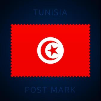 튀니지 우표. 국기 우표 흰색 배경 벡터 일러스트 레이 션에 고립입니다. 공식 국가 국기 패턴과 국가 이름이 있는 스탬프 프리미엄 벡터