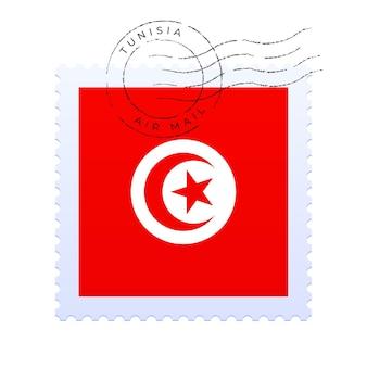 튀니지 우표. 국기 우표 흰색 배경 벡터 일러스트 레이 션에 고립입니다. 공식 국가 국기 패턴과 국가 이름이 있는 스탬프