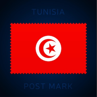 Tunisia postage mark. national flag postage stamp isolated on white background vector illustration. stamp with official country flag pattern and countries name