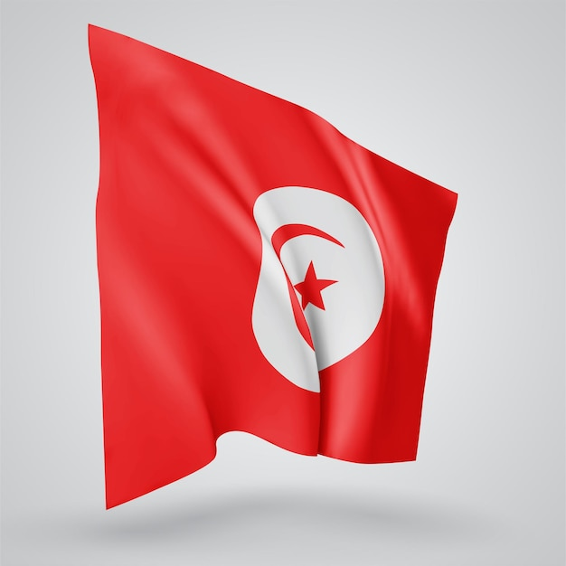 Tunisia, vector flag with waves and bends waving in the wind on a white background.