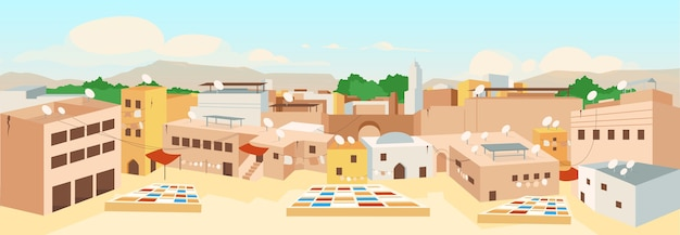 Tunisian old town flat color illustration