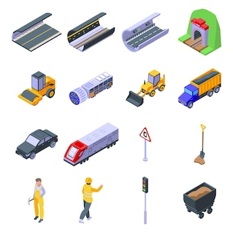 Tunnel icons set. isometric set of tunnel  icons for web
