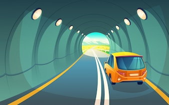 Tunnel with car, highway for vehicle. Grey asphalt with lighting in underground