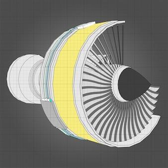 Самолет с турбореактивным двигателем. векторная иллюстрация линии.