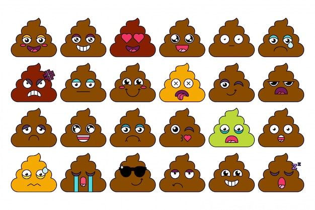 Turd, poop emoji sticker set. cute shit emoticon, social media cartoon face pack. mood expression