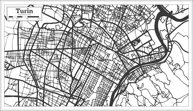 복고 스타일 토리노 이탈리아 도시 지도입니다. 개요 지도. 벡터 일러스트 레이 션.