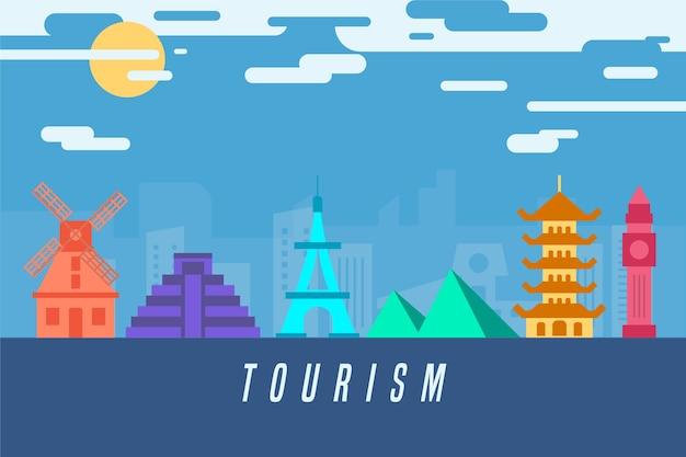 Turistic colorful landmarks skyline