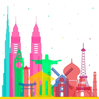 Turistic landmarks skyline