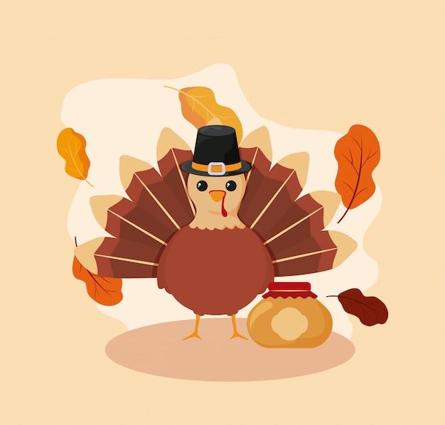 Turkey of autumn season vector design