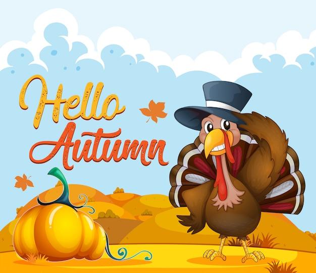 Turkey on autumn template