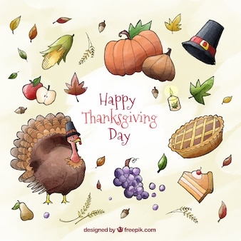 Turkey background with thanksgiving watercolor elements