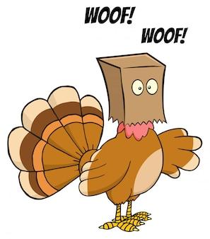 Turkey bird cartoon character hiding under a bag barks