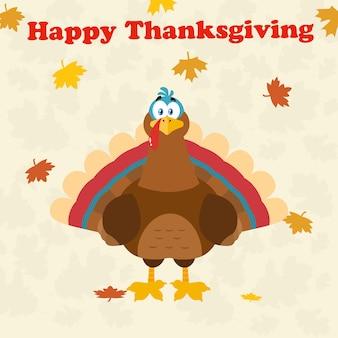 Turkey bird cartoon character. illustration flat design over background with autumn