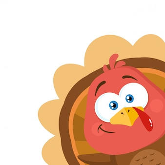 Turkey bird cartoon character waving from a corner