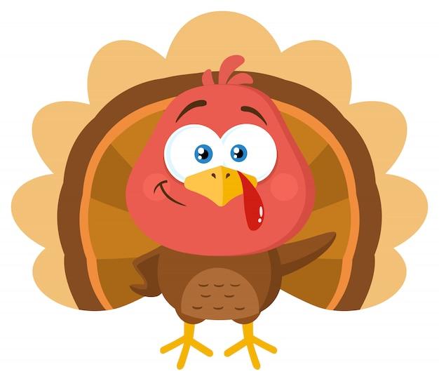 Turkey bird cartoon character waving