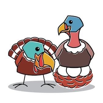 Ферма пара птиц индейки сидеть на яйцо гнездо благодарения персонаж мультфильма